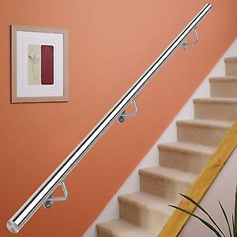 Main courante ronde d'escalier en acier inoxydable brossé