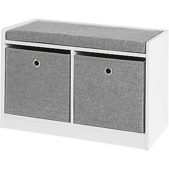 SoBuy FSR65-K-DG, Banco de zapatos de almacenamiento con cofre de zapato de asiento con 2 cestas grises