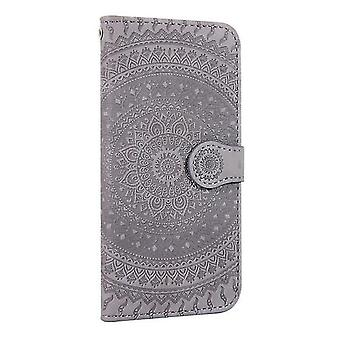 Samsung Galaxy S8 + / S8 Plus Flower Flip Case Cover - Gris