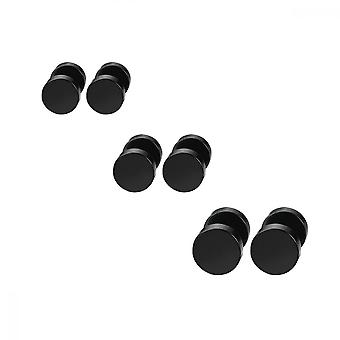 Pendientes negros, 3 pares de tapones para los oídos en espiral de acero inoxidable para hombres y mujeres