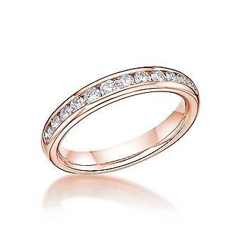 HS Johnson HSJ-CSC335A Women's Diamond Set Half Eternity Rose Gold Ring