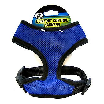 """Four Paws Comfort Control Harness - Blue - Medium - For Dogs 7-10 lbs (16""""-19"""" Chest & 10""""-13"""" Neck)"""