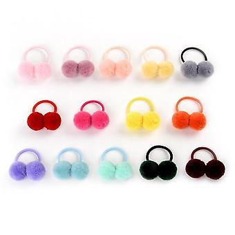 """14pcs/lot 1.4"""" Small Solid Double Fur Ball With Elastic Rope Handmade Hair Band For Kids Girls Hair Accessories"""