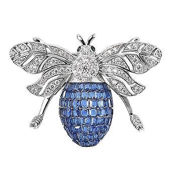 Lustro Stella Blau Zirkonia Bienenanhänger in Silber Tierliebhaber Geschenk 3.3ct