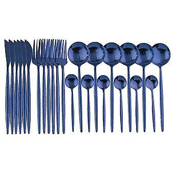 Modern gestaltetes 24-teiliges Set Küchenbesteck (Blau)