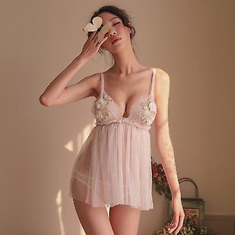 Sexy Night Dress Nightgowns Femei Sleepwear Nightwear broderie Ultrathin Nighty Night Gown short Mini Black White Luna de miere