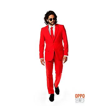 Red Devil costume rouge rouge Mister Opposuit slimline Premium 3 pièces UE tailles