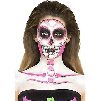Make-up set neon skelet schedel 4 kleuren met schraper roze zwart wit grijs