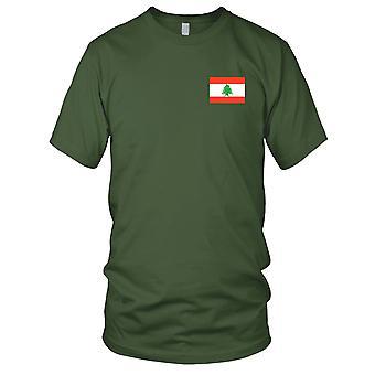Libanon nasjonale flagg - brodert Logo - 100% bomull t-skjorte Mens T-skjorte