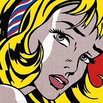 Flicka med hår band 1965 affisch Skriv av Roy Lichtenstein (12 x 12)