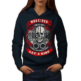 Permite montar cráneo mujeres NavyHoodie | Wellcoda