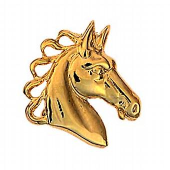 9ct Gold 20x21mm Horses head Brooch