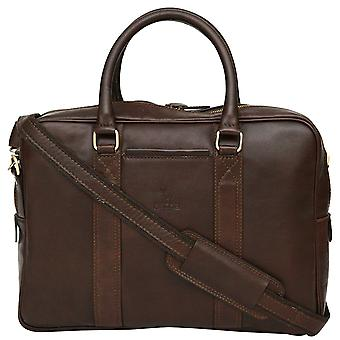 "Genuine Leather 13"" Laptop Briefcase Business Bag Twin Handle Case Made In Italy"