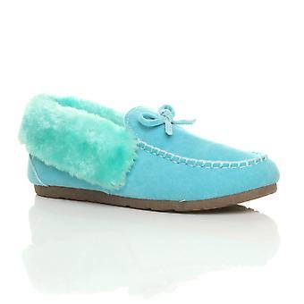 Ajvani kvinners faux sheepskin pels luksus fleksibel eneste vinter mokkasiner tøfler sko