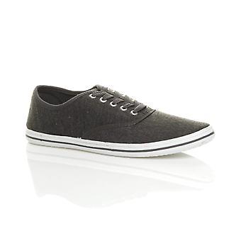Ajvani Herre flad lace op casual lærred plimsoles lærredssko sand sko daps pumper