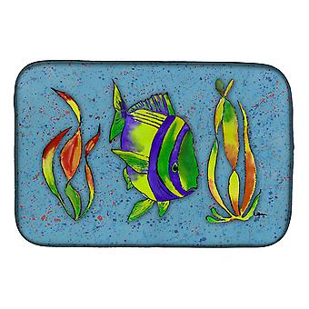 Carolines Treasures  8570DDM Tropical Fish on Blue Dish Drying Mat