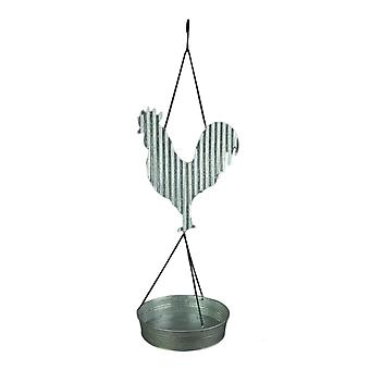 Urban Farmhouse Galvanized Zinc Finish Rooster Bird Feeder