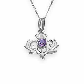 Sterling Silver Traditional Scottish Thistle Hand Crafted Necklace Pendant - Amethyst Stone - CP7