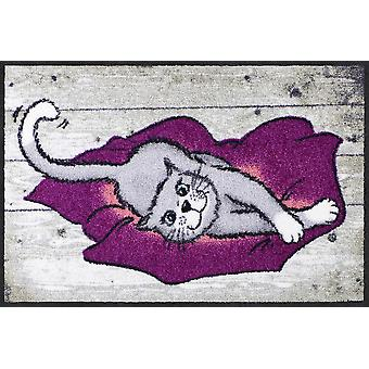 Salon lion tapis coussin chat 50 x 75 cm lavable saleté mat Bienvenue animal