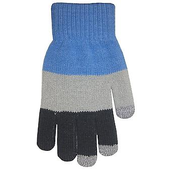 Boss Tech BTP-GLV-BLUGRY Knit Touchscreen Gloves, Texting Gloves, Tech Gloves (Blue Gray)