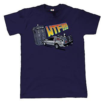 WTF Tardis v Delorean Crash T-Shirt - Dr Who Back To The Future  - inc 4XL 5XL