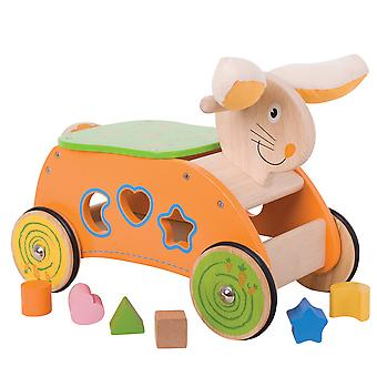 Bigjigs Toys Wooden Bunny Ride On Walker Shape Sorter Educational