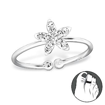 Flower - 925 Sterling Silver + Crystal Toe Rings - W28623x