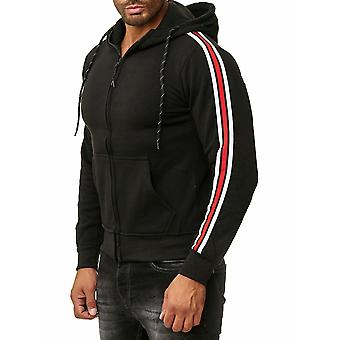 Zip Hoodie hombres sudor camisa chaqueta Chandal puente manga larga Pullover a rayas