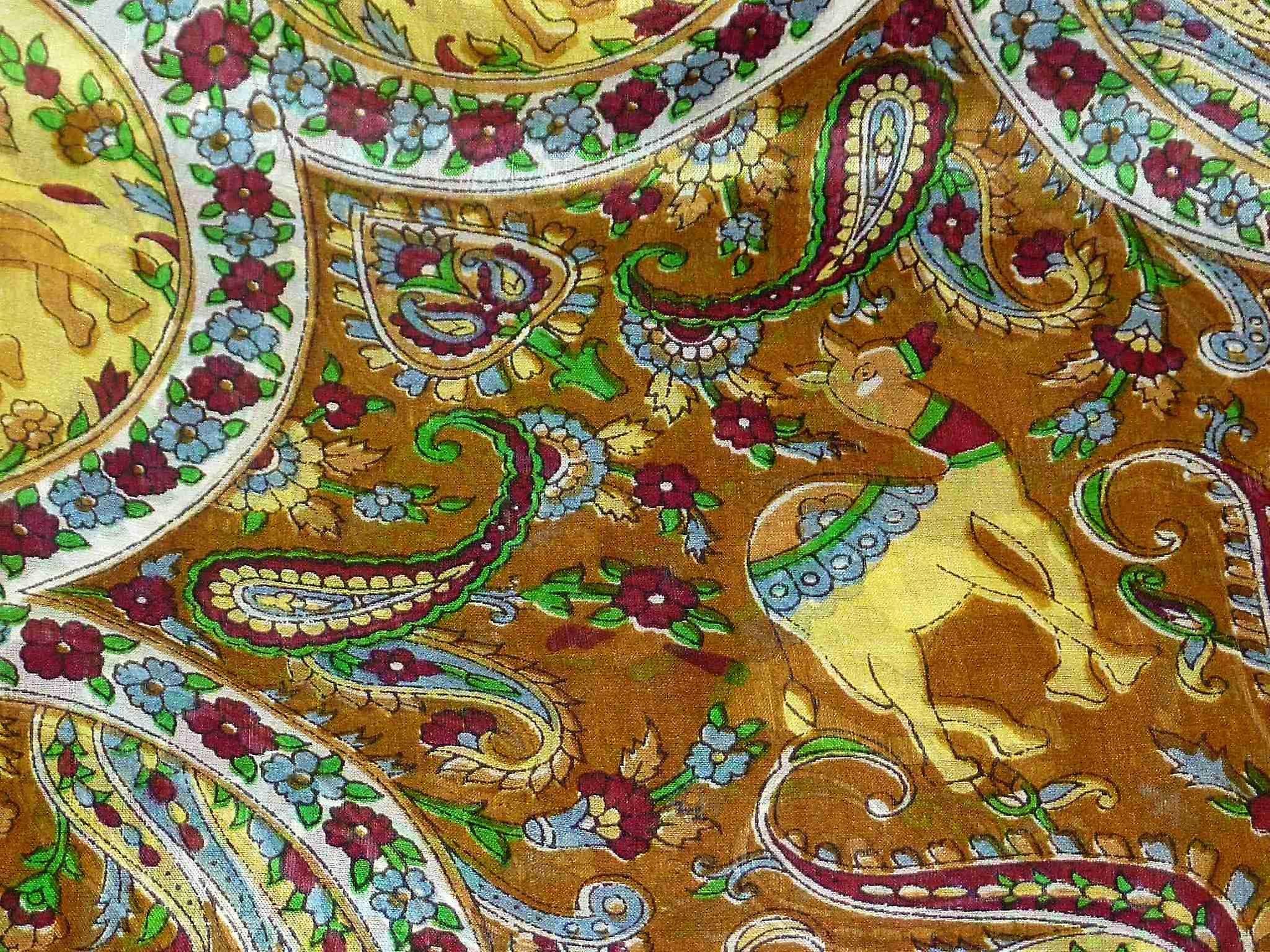 Mulberry Silk Traditional Square Scarf Kaladi Brown by Pashmina & Silk