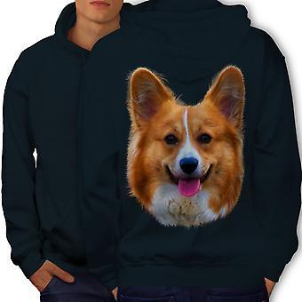 Cute Dog Puppy Men NavyHoodie Back | Wellcoda