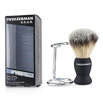 Tweezerman G.e.a.r. Deluxe Shaving Brush With Stand - 2pcs