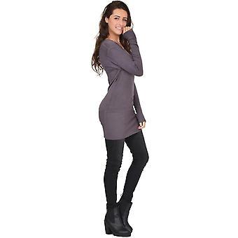 Long Sleeve V Neck Fitted Stretch Knit Jumper Dress