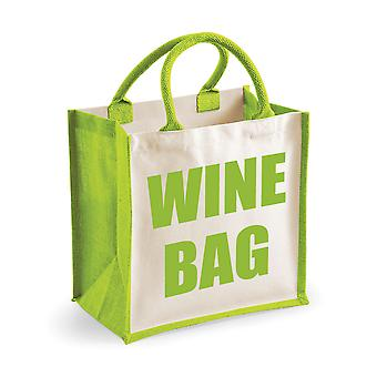 Medium Green Jute Bag Wine Bag
