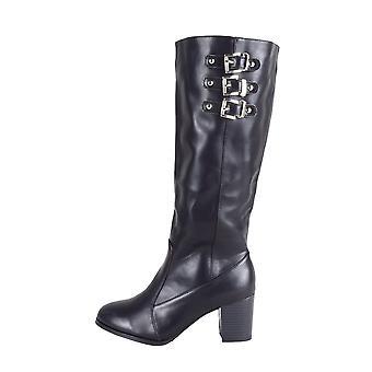 LMS sort imiteret læder blok hæl knæ høj støvle med spænder