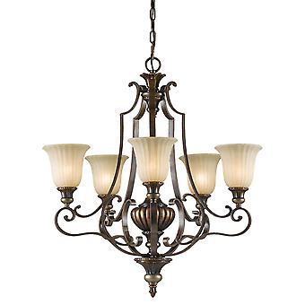 Kelham Hall jusqu'à cinq lustre lumière - Elstead éclairage Fe / Kelhall5 UPLT