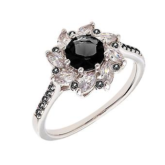 Bertha Juliet Collection Women's 18k WG Plated Black Flower Fashion Ring Size 5