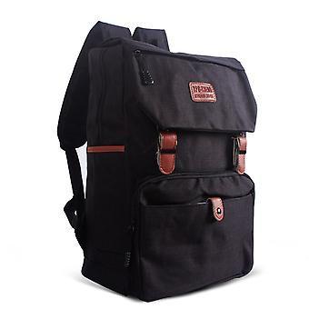 Classic designed backpack with leather straps-black
