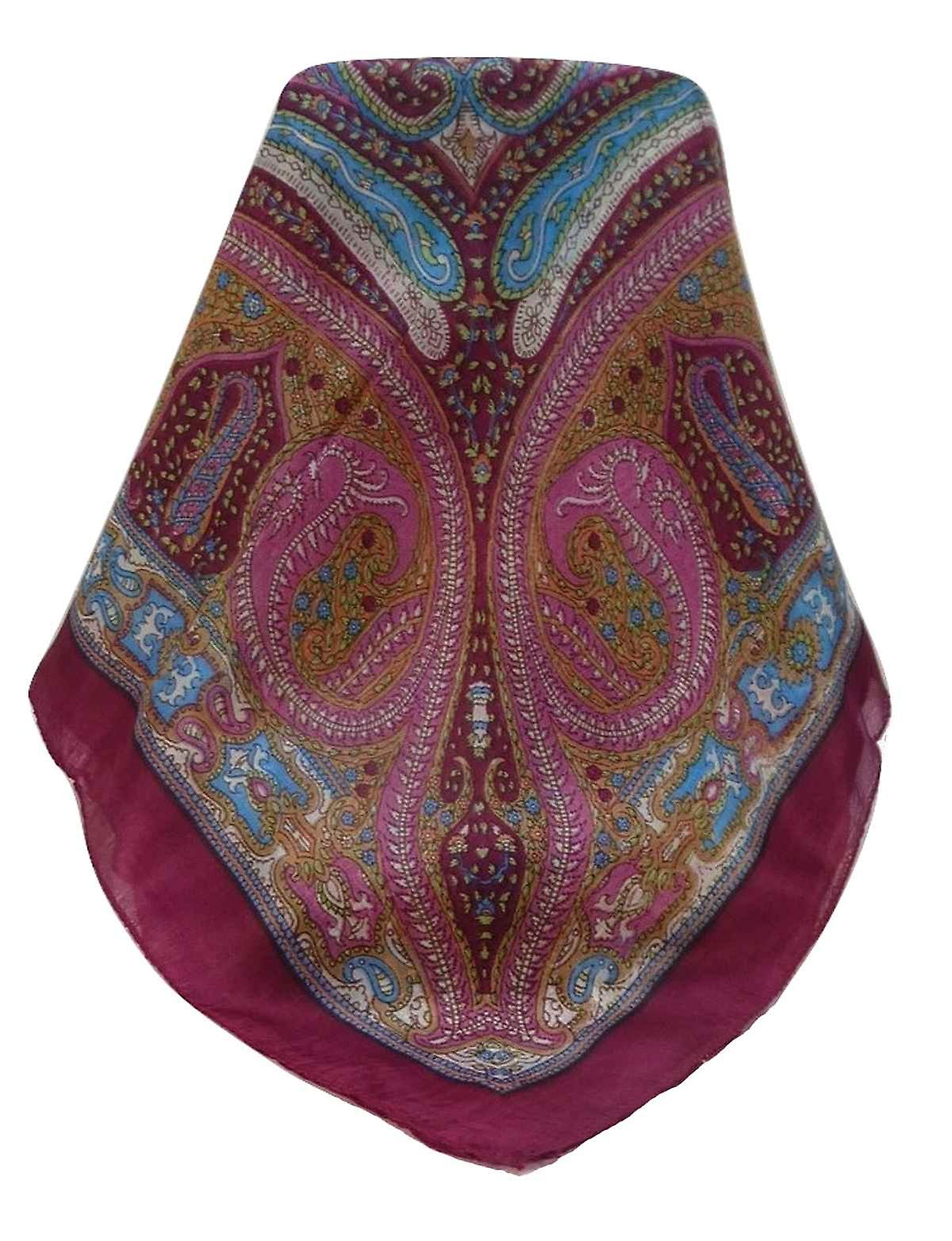 Mulberry Silk Traditional Square Scarf Vayvia Rose by Pashmina & Silk