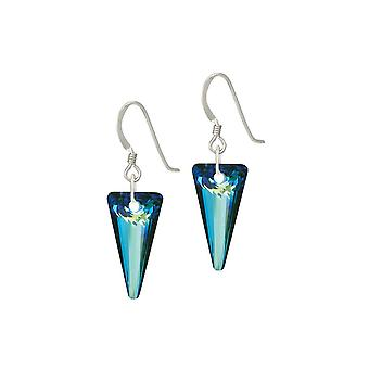 Eternal Collection Scintillate Bermuda Blue Crystal Spike Sterling Silver Drop Pierced Earrings