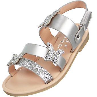 Meninas prata sparkly sandálias planas com guarnições de borboleta