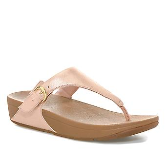 Womens Fitflop Skinny Glimmersuede Toe Thong Sandals In Apple Blossom