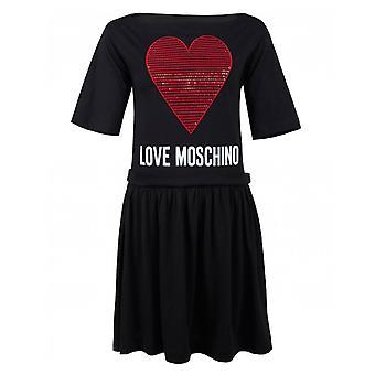 Love Moschino Pailletten Herz Swing Kleid