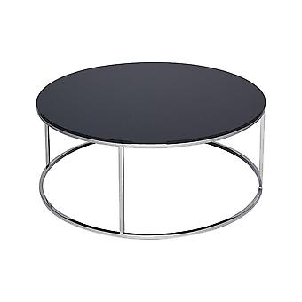 Gillmore Black Glass And Silver Metal Contemporary Circular Coffee Table