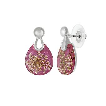 Eternal Collection Nostalgia Pink Resin Floral Silver Tone Stud Pierced Earrings