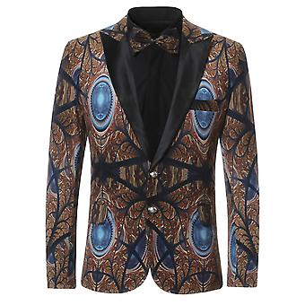 Allthemen Mens Peacock Eye Printed Suit Blazers Slim One Button Suit Jackets Dinner Chic