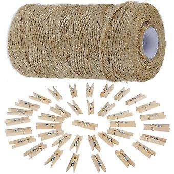 812cm Garden Cord with 50 Clothespins Craft Cord Natural Jute Cord Clothespins Packaging 3.5cm Yellow