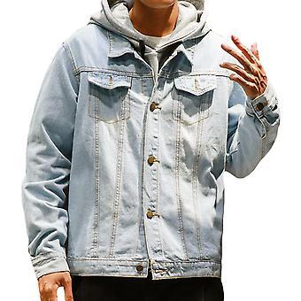 Allthemen Herre blå denim jakke regelmæssig pasform bomuld Trucker frakke