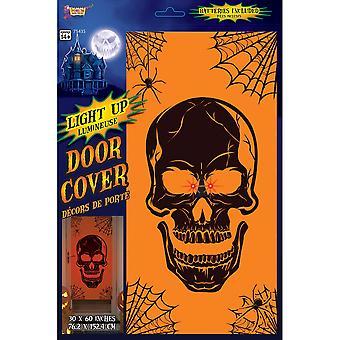 Bristol Novelty Light Up Skull Halloween Door Cover
