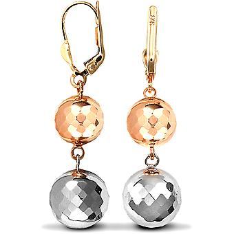 Jewelco London Ladies 9ct Yellow White and Rose Gold Double Disco Ball Drop Earrings
