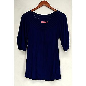 Ava Rose Lattice abbellito 3/4 Sleeve maglia Tee Lapis Blu Top Donne